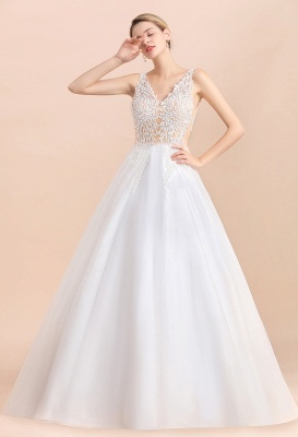A Line Lace Chiffon  V Neck Champagne Wedding Dresses Sleeveless_10