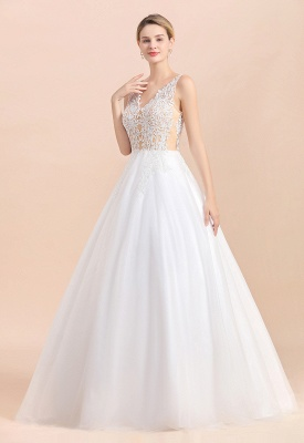 A Line Lace Chiffon  V Neck Champagne Wedding Dresses Sleeveless_6