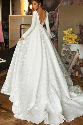 Glamorous Long Sleeve V-Neck Wedding Dress With Lace Appliques_3