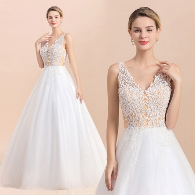 A Line Lace Chiffon  V Neck Champagne Wedding Dresses Sleeveless_3
