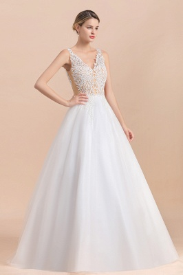 A Line Lace Chiffon  V Neck Champagne Wedding Dresses Sleeveless_8