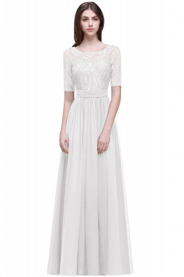 AUBRIELLE | A-line Scoop Chiffon Elegant Prom Dress With Lace_1