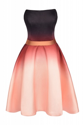 Strapless Short Homecoming Dress Satin Tulle Cocktail Dress with Sash_7