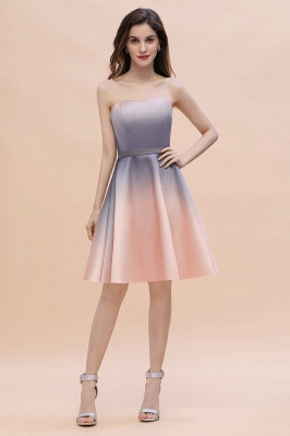 Strapless Short Cocktail Dress Satin Tulle Homecoming Dress_2