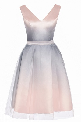 V-neck Sleeveless Homecoming Dress Satin Tulle Cocktail Dress On sale_12