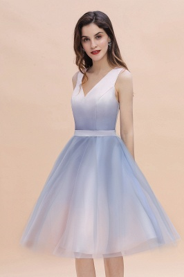 V-neck Sleeveless Homecoming Dress Satin Tulle Cocktail Dress On sale_9