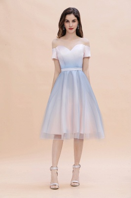 Stylish Strapless Sweetheart Prom dress Tulle Satin Knee Length Party Dress_3