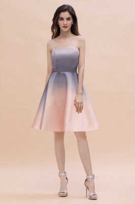 Strapless Short Cocktail Dress Satin Tulle Homecoming Dress_6