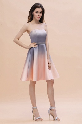 Strapless Short Cocktail Dress Satin Tulle Homecoming Dress_9