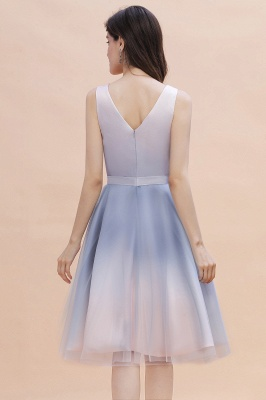 V-neck Sleeveless Homecoming Dress Satin Tulle Cocktail Dress On sale_3