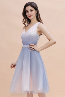 V-neck Sleeveless Homecoming Dress Satin Tulle Cocktail Dress On sale_5