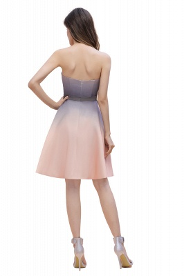 Strapless Short Cocktail Dress Satin Tulle Homecoming Dress_5