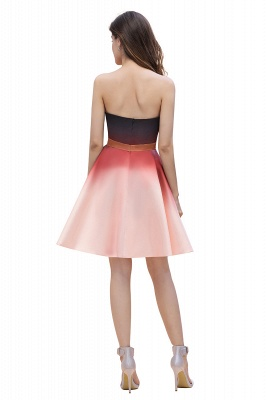 Strapless Short Homecoming Dress Satin Tulle Cocktail Dress with Sash_3