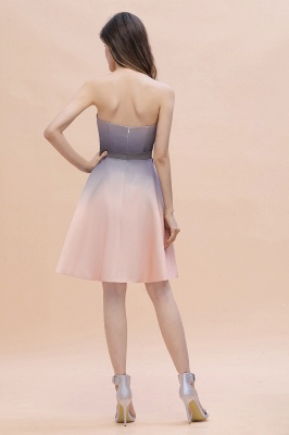 Strapless Short Cocktail Dress Satin Tulle Homecoming Dress_3