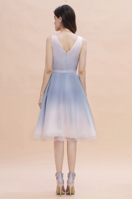 V-neck Sleeveless Homecoming Dress Satin Tulle Cocktail Dress On sale_4
