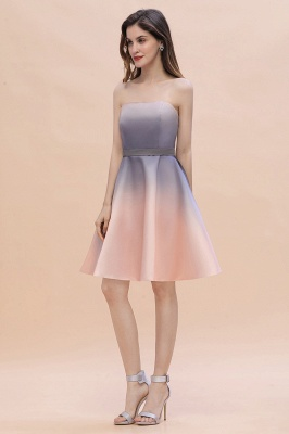 Strapless Short Cocktail Dress Satin Tulle Homecoming Dress_10
