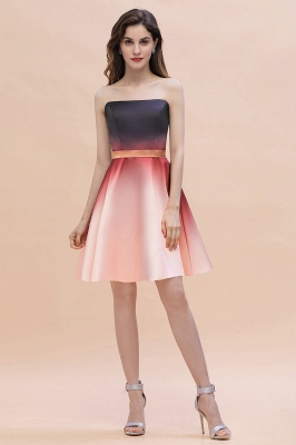 Strapless Short Homecoming Dress Satin Tulle Cocktail Dress with Sash_2