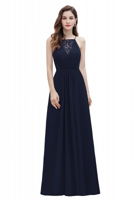 Straps Bateau A-line Sequins Evening Maxi Dress Elegant Chiffon Prom Dress_3