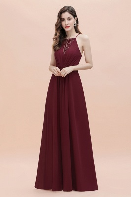 Straps Bateau A-line Sequins Evening Maxi Dress Elegant Chiffon Prom Dress_6