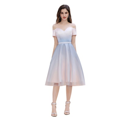 Stylish Strapless Sweetheart Prom dress Tulle Satin Knee Length Party Dress_1