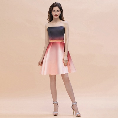 Strapless Short Homecoming Dress Satin Tulle Cocktail Dress with Sash_1