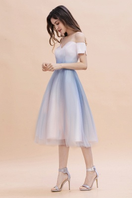 Stylish Strapless Sweetheart Prom dress Tulle Satin Knee Length Party Dress_6