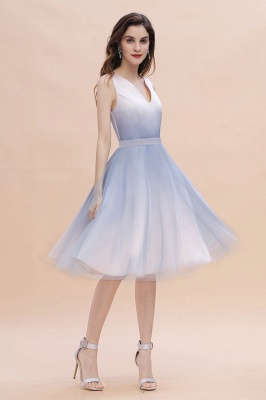 V-neck Sleeveless Homecoming Dress Satin Tulle Cocktail Dress On sale_1