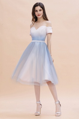 Stylish Strapless Sweetheart Prom dress Tulle Satin Knee Length Party Dress_2