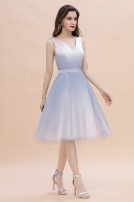 V-neck Sleeveless Homecoming Dress Satin Tulle Cocktail Dress On sale_10