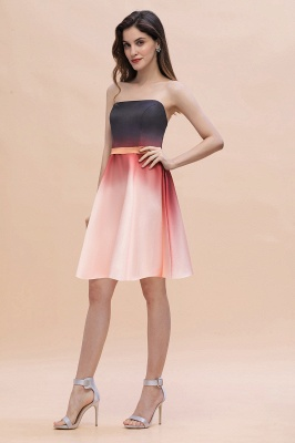 Strapless Short Homecoming Dress Satin Tulle Cocktail Dress with Sash_4