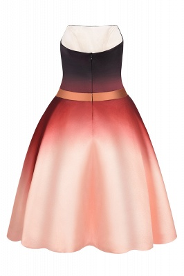 Strapless Short Homecoming Dress Satin Tulle Cocktail Dress with Sash_8