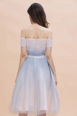 Stylish Strapless Sweetheart Prom dress Tulle Satin Knee Length Party Dress_5