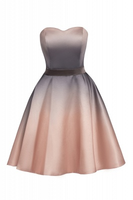 Strapless Short Cocktail Dress Satin Tulle Homecoming Dress_12