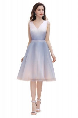 V-neck Sleeveless Homecoming Dress Satin Tulle Cocktail Dress On sale_7