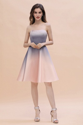 Strapless Short Cocktail Dress Satin Tulle Homecoming Dress_11