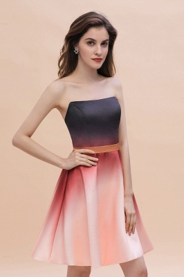 Strapless Short Homecoming Dress Satin Tulle Cocktail Dress with Sash_5