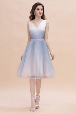 V-neck Sleeveless Homecoming Dress Satin Tulle Cocktail Dress On sale_2