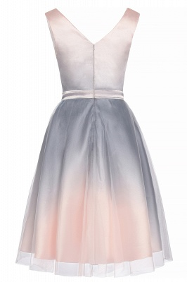 V-neck Sleeveless Homecoming Dress Satin Tulle Cocktail Dress On sale_11