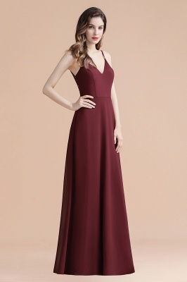 Elegant V-Neck Chiffon Evening Prom Dress for Women Straps Formal Maxi Dress_8