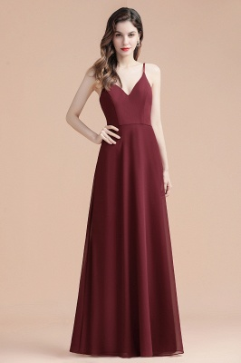 Elegant V-Neck Chiffon Evening Prom Dress for Women Straps Formal Maxi Dress_9