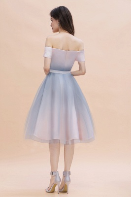 Stylish Strapless Sweetheart Prom dress Tulle Satin Knee Length Party Dress_4