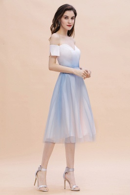 Stylish Strapless Sweetheart Prom dress Tulle Satin Knee Length Party Dress_7