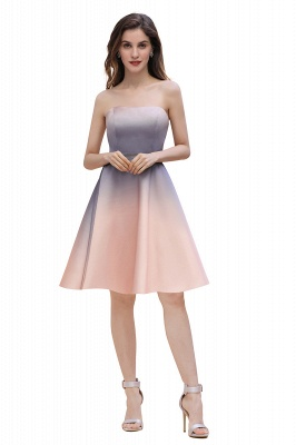 Strapless Short Cocktail Dress Satin Tulle Homecoming Dress_4