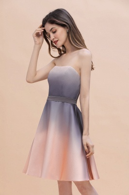 Strapless Short Cocktail Dress Satin Tulle Homecoming Dress_7