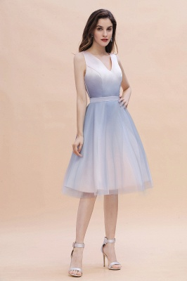 V-neck Sleeveless Homecoming Dress Satin Tulle Cocktail Dress On sale_6