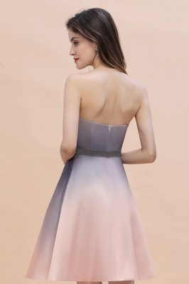 Strapless Short Cocktail Dress Satin Tulle Homecoming Dress_8