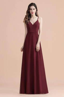 Elegant V-Neck Chiffon Evening Prom Dress for Women Straps Formal Maxi Dress_5