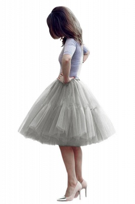 Puffy Knee-length Carnival Peticoat in Burgundy, White, Yellow, Gray, Pink, Mint Green_16