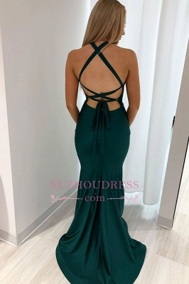 Sexy Mermaid Halter Slit Backless Evening Dresses_2