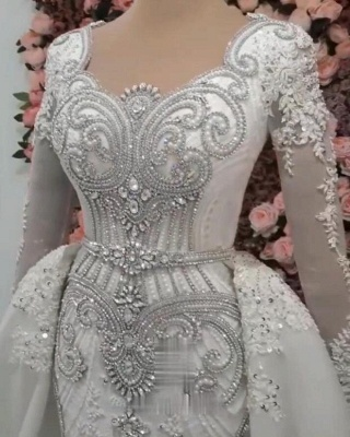 Long Sleeve Crystal Overskirt Lace Bridal Gowns_4